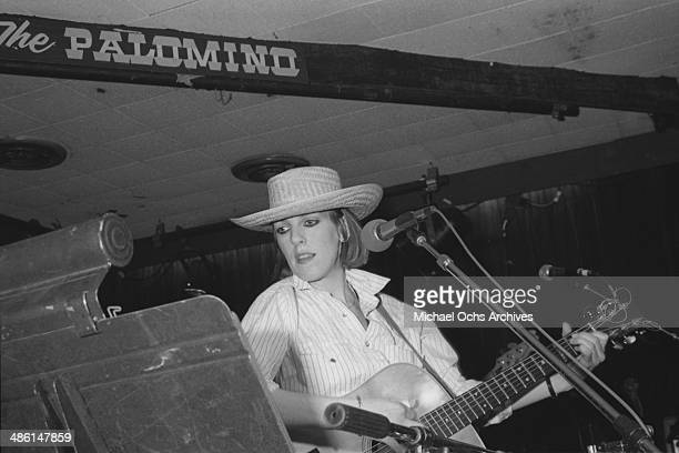 Country star Lucinda Williams performs at the Palonino club on February 13 1985 in Los Angeles California