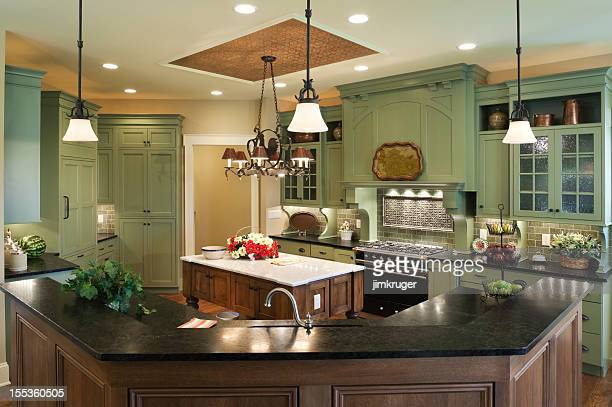 country style custom kitchen in residential home. - farmhouse stock pictures, royalty-free photos & images