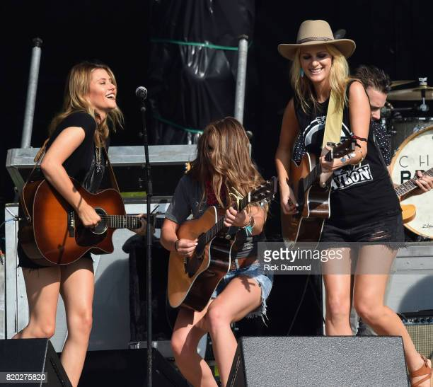 Country Trio Runaway June L/R Hannah Mulholland Naomi Cooke and Jennifer Wayne perform at Country Thunder In Twin Lakes Wisconsin Day 1 on July 20...