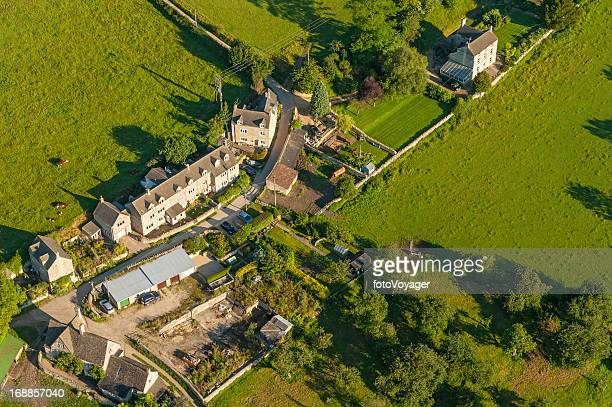 country village homes farms and fields aerial photo - overhemd en stropdas stock pictures, royalty-free photos & images