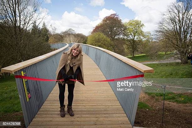 Countryfile presenter Ellie Harrison opens Westonbirt's new treetop walkway at Westonbirt Arboretum on April 26, 2016 in Tetbury, England. The 300m...