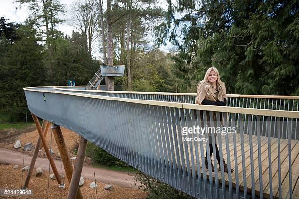 Countryfile presenter Ellie Harrison opens Westonbirt's new treetop walkway at Westonbirt Arboretum on April 26 2016 in Tetbury England The 300m long...