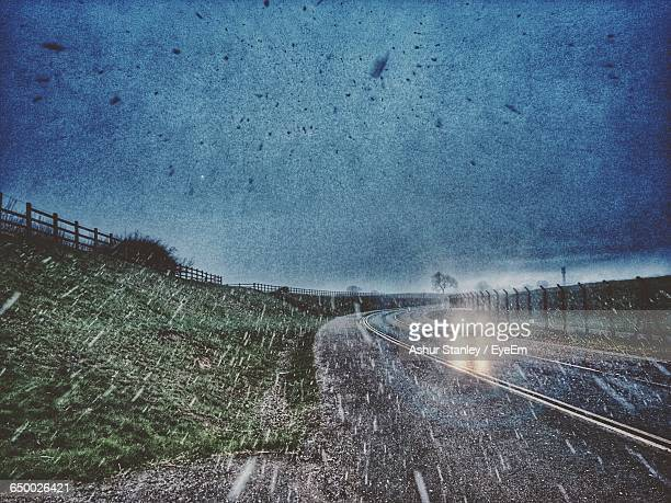 Countryside Landscape On A Snowing Day