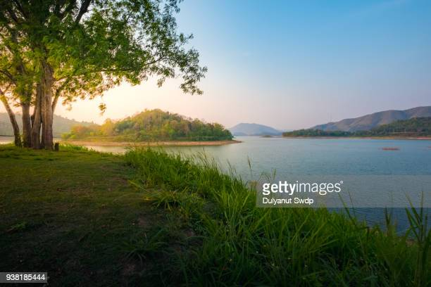 countryside landscape with mountain and swamp in summer. - lago imagens e fotografias de stock