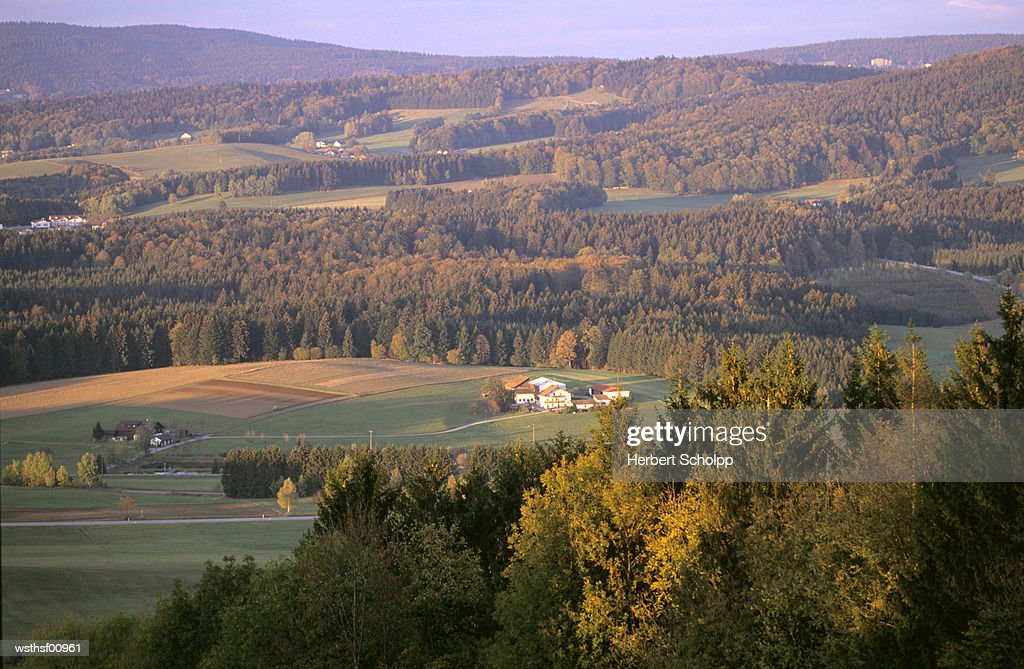 Countryside, near Freyung, Bavarian Forest, Germany, high angle view : Stock Photo