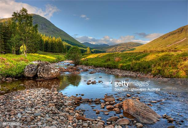 countryside near tummel bridge - flussufer stock-fotos und bilder