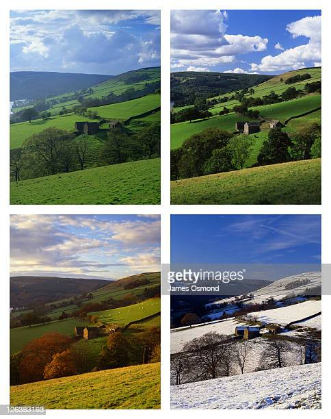 Countryside scene depicted in four seasons at the Peak District National Park in Derbyshire.