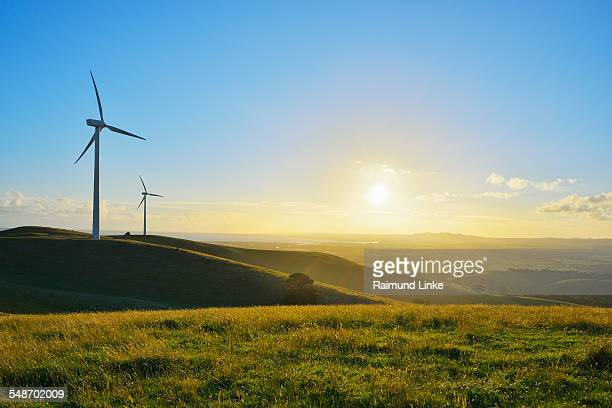 Countryside with Wind Turbines and Sun