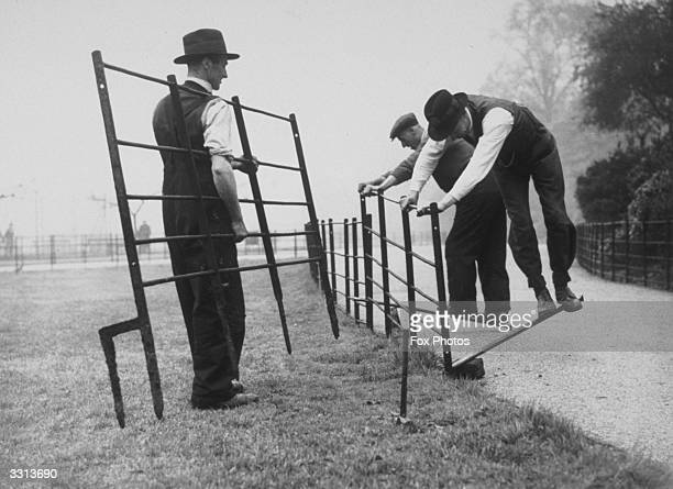 Countrywide census of railings has been started by the Iron and Steel Control, and men have already started pulling up the railings in London parks;...