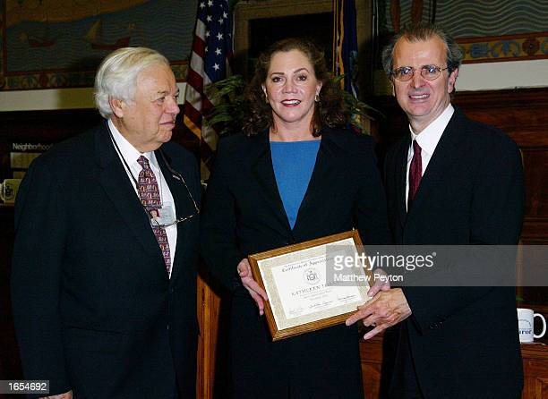 County Clerk Norman Goodman , actress Kathleen Turner and Chief Administrative Judge Jonathan Lippman participate in Juror Appreciation Day at the...