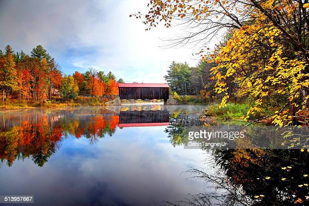 county covered bridge in new hampshire - covered bridge stock photos and pictures