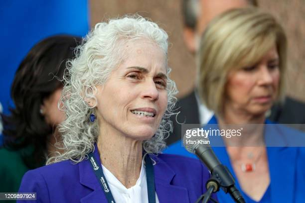 A County Department of Public Health Director Barbara Ferrer addresses a press conference held at the steps of Kenneth Hahn Hall of Administration to...