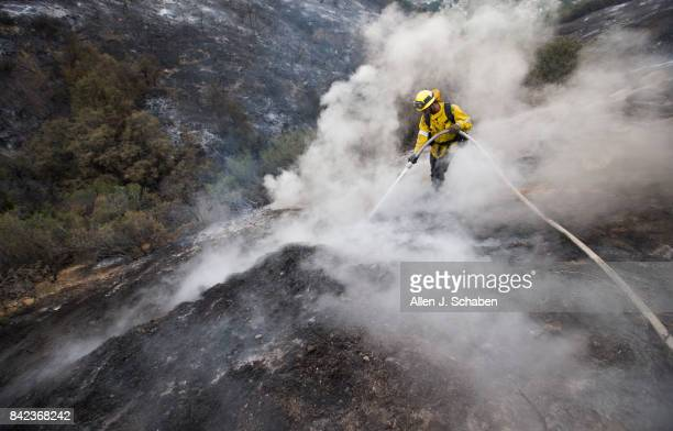 County firefighter Kevin Sleight extinguishes hot spots while battling the La Tuna Canyon fire along Crestline Drive in Los Angeles Sunday Sept 3...