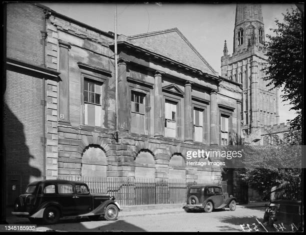 County Hall, Cuckoo Lane, Coventry, 1941. County Hall viewed from Cuckoo Lane with the tower of Holy Trinity Church in the background. The former...