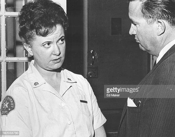 APR 5 1965 APR 28 1965 MAY 9 1965 County Jail Warden Mose Trujillo discusses a discipline problem with Mrs Foco Both agree on necessity and...