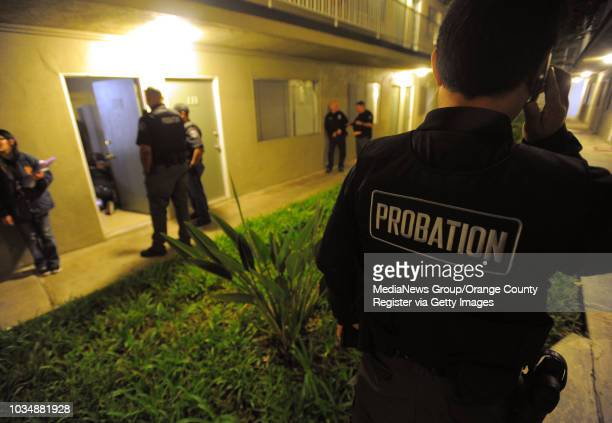 County probation department officers conduct a sweep on Halloween as they visit several homes of convicted sex offenders in Long Beach, CA on...