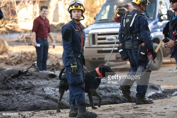 County Search and Rescue dog is used as firefighters work to clear debris at a home after dogs marked on a possible body and searchers believe the...