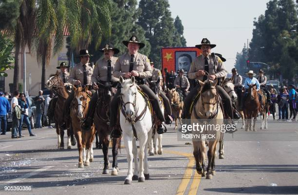 LA County Sheriff Jim McDonnell rides his horse in the 33rd annual Kingdom Day Parade honoring Dr Martin Luther King Jr January 15 2018 in Los...