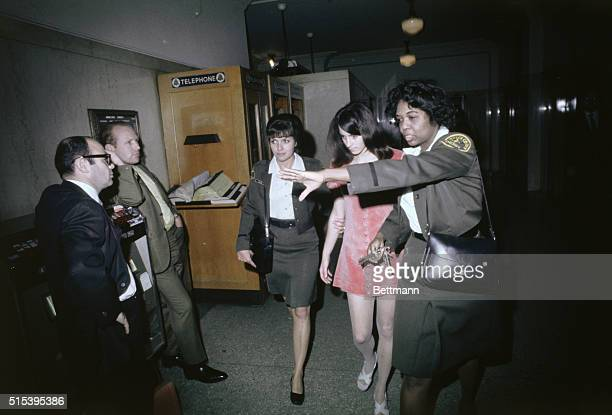 County Sheriffs take Susan Atkins back to jail She and two other female members of the Manson Family waived arraignment on murder charges in...
