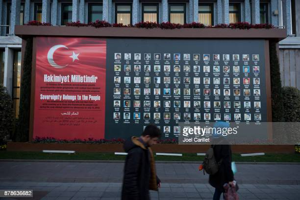 coup victim memorial outside istanbul city hall - 2016 stock pictures, royalty-free photos & images