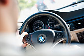 BMW coupe indoors