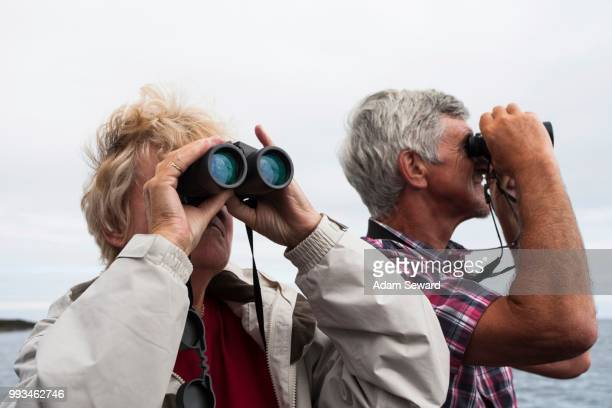 couple, 60-65 years, using binoculars, northumberland, england, united kingdom - 65 69 years stock pictures, royalty-free photos & images