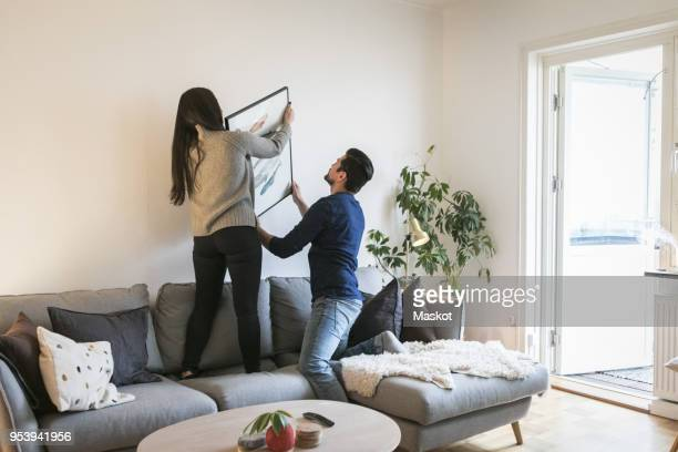 couple adjusting painting on wall while leaning on sofa at home - hausdekor stock-fotos und bilder