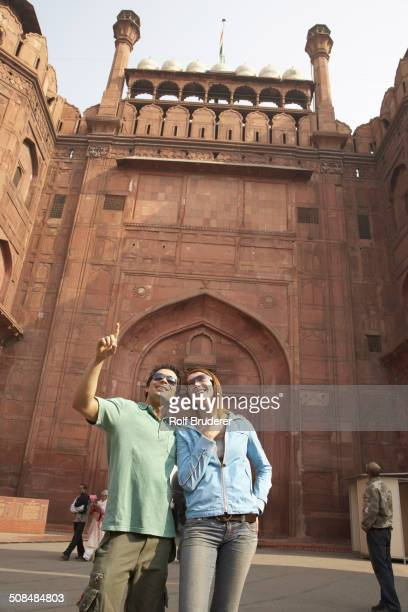 Couple admiring Red Fort, Delhi, India
