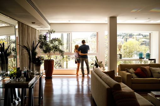 Couple admiring the view from the living room of their house. 1146103884