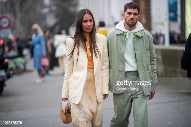 0a992500881c Couple Alice Barbier and JeanSebastian Rocques is seen outside Acne during  Paris Fashion Week Menswear F