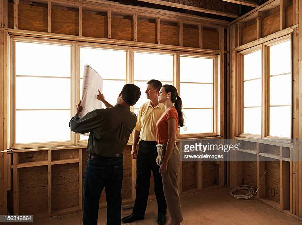 Couple and Builder with Blueprint