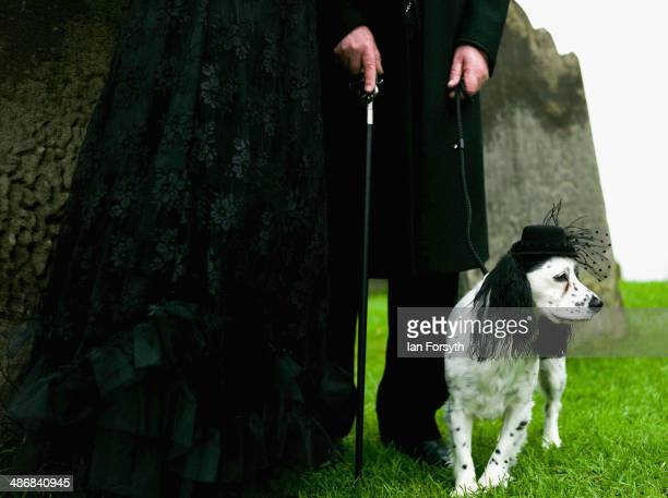 A couple and their dog pose for pictures during the Goth weekend on April 26 2014 in Whitby England The Whitby Goth weekend began in 1994 and happens...