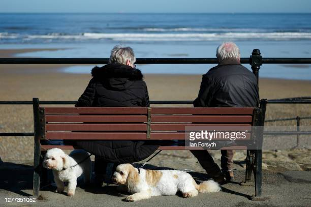 Couple and their dogs take a break on the lower promenade at Saltburn beach on September 29, 2020 in Saltburn By The Sea, England.