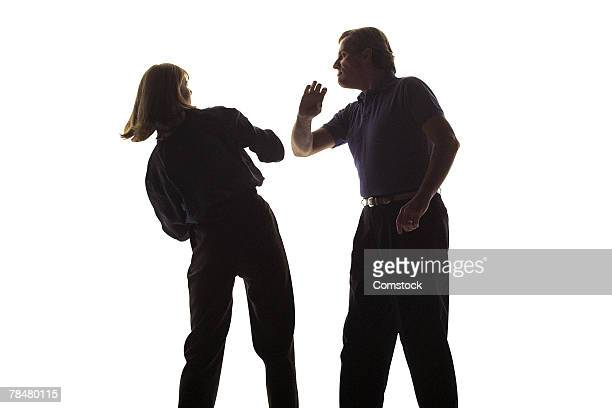 Couple arguing , domestic abuse