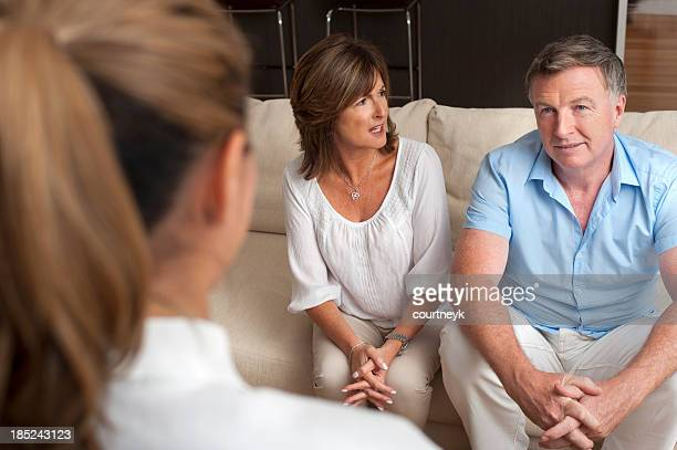 Couple arguing in a counselling session