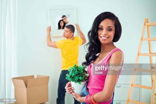 Couple arranging their apartment