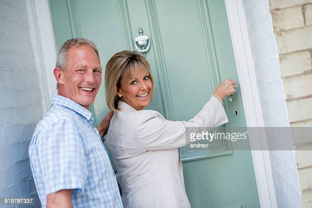 Couple arriving home