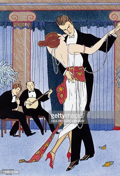 Couple at a dance engraving France 20th century Paris Bibliothèque Des Arts Decoratifs