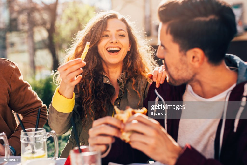 Couple at a restaurant : Stock Photo