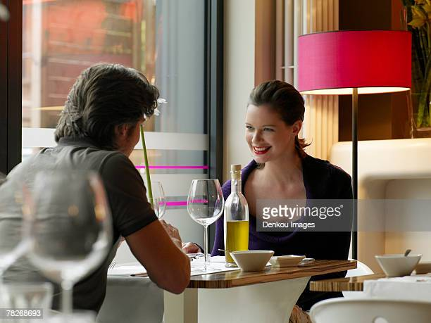 Couple at a restaurant.