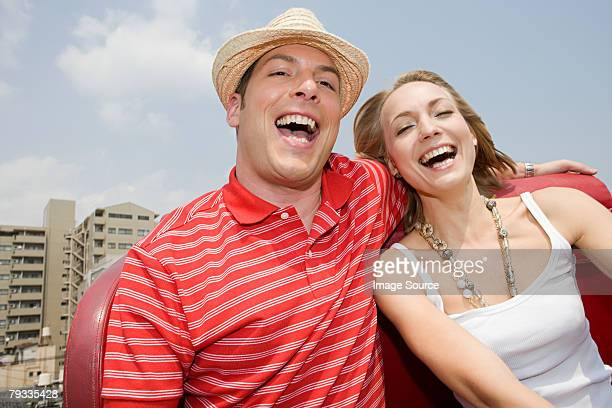 Couple at an amusement park