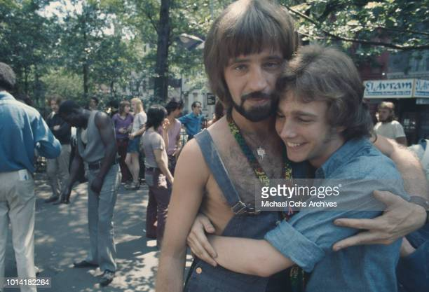 A couple at an LGBT parade through New York City on Christopher Street Gay Liberation Day 1971