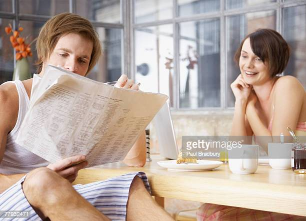 couple at breakfast in modern home - french culture stock pictures, royalty-free photos & images
