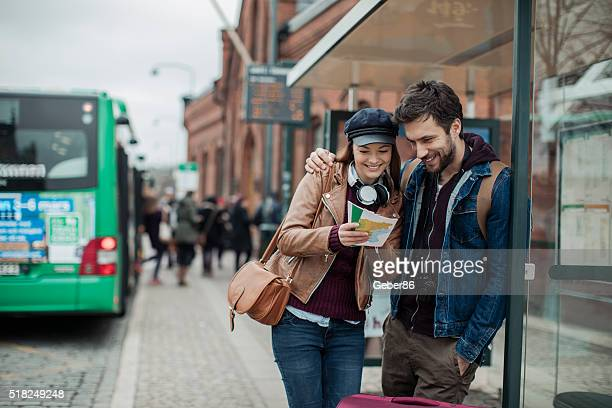 Couple at bus station