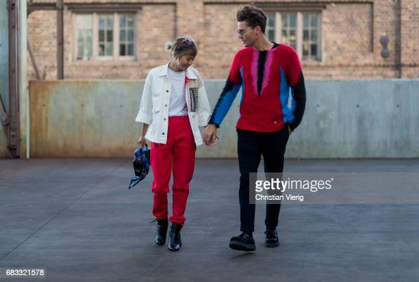 A couple at day 2 during MercedesBenz Fashion Week Resort 18 Collections at Carriageworks on May 15 2017 in Sydney Australia
