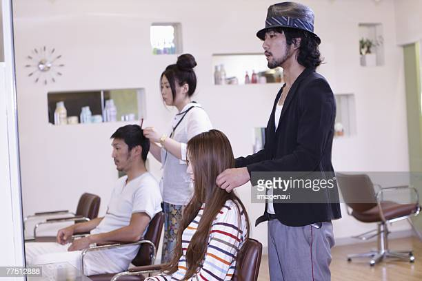Couple at Hairsalon Getting Haircut