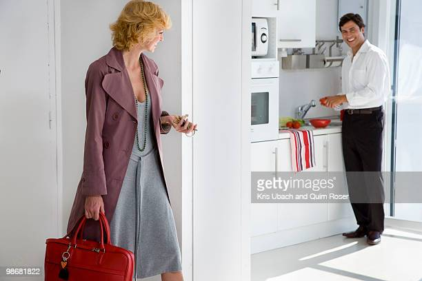 couple at home - role reversal stock photos and pictures