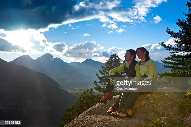 Couple at mountain sunrise