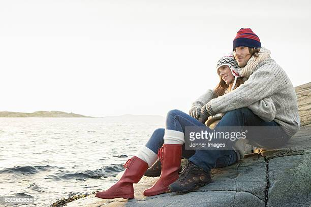 couple at sea - guess jeans stock photos and pictures