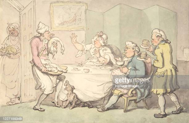 Couple at Table with Servants, 18th-19th century. Artist Unknown;Unknown.